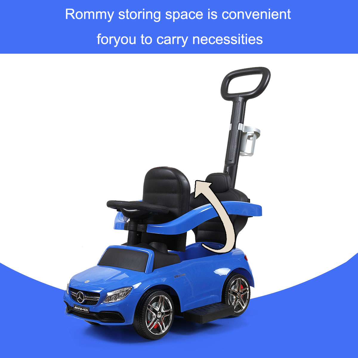 Mercedes Benz Ride On Push Car for Toddlers, Blue TH17N0346 16